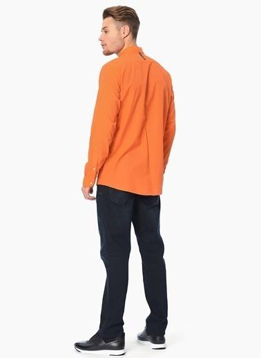 Que Slim Fit Uzun Kollu Gömlek Oranj